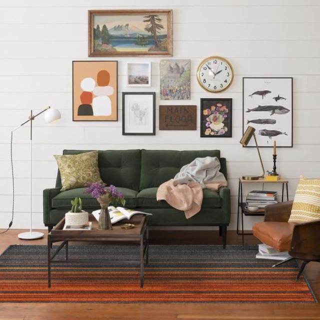 【山德力】奧維德地毯-東方橘120X178cm 耐磨高透氣(簡潔俐落 幾何線條 金牛年喜迎春)
