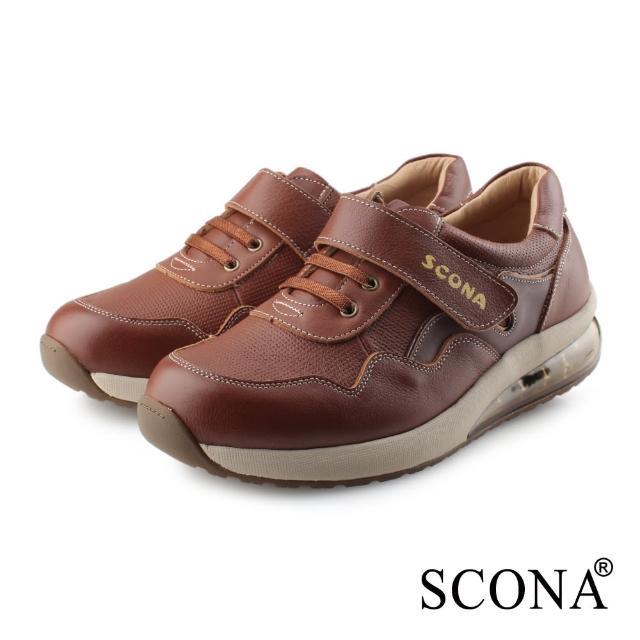 【SCONA 蘇格南】全真皮 舒適減壓氣墊休閒鞋(淺咖色 1280-2)