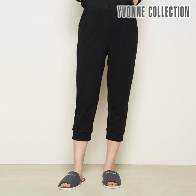 【Yvonne Collection】素面合身縮口七分褲(黑L)