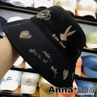 【AnnaSofia】防曬遮陽漁夫帽盆帽-電繡兔頭塗鴉拓印(黑系)