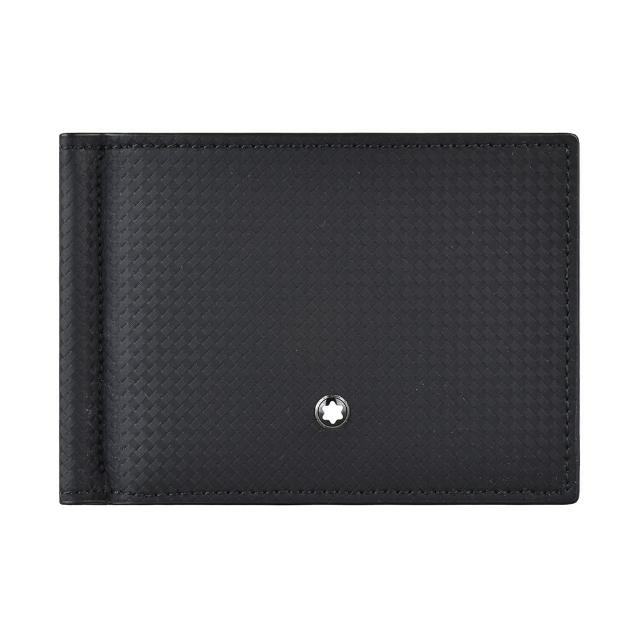 【MONTBLANC 萬寶龍】MONT BLANC EXTREME2.0六角星LOGO碳纖維圖案牛皮6卡鈔票夾短夾(黑)