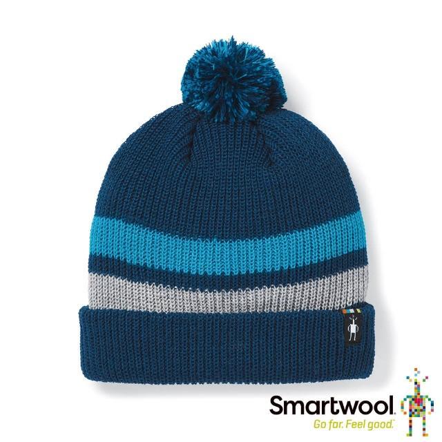 【SmartWool】孩童 條紋毛球保暖毛帽(靛藍色)