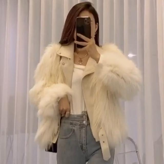 【BBHONEY】韓版時尚皮衣拼接皮草短版大衣(網美熱搜款)