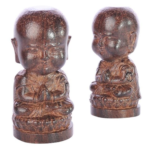 【十方佛教文物】合掌沙彌{土沉木雕}祥和(智慧增長  平安如意)