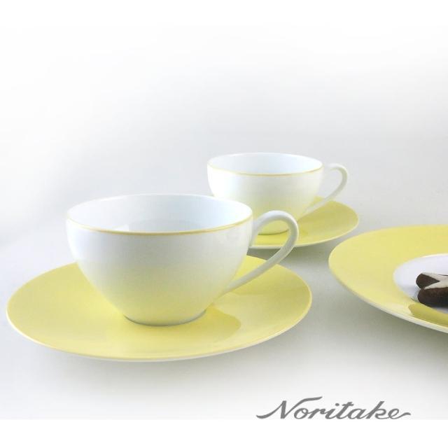 【NORITAKE】繽紛世界咖啡對杯-檸檬黃