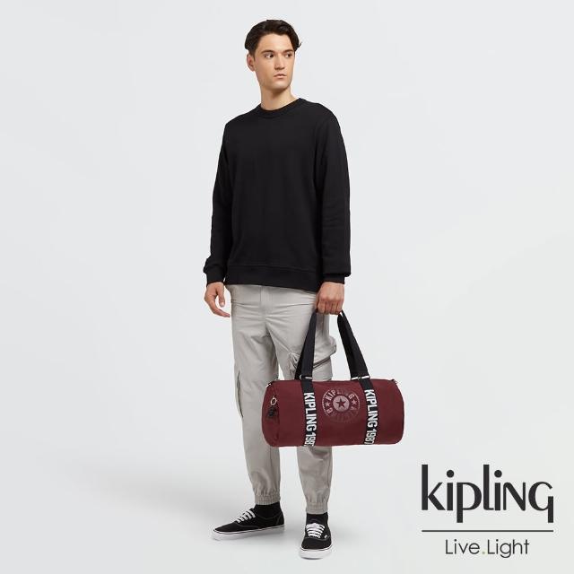 KIPLING【KIPLING】刷舊棗紅拼接黑色圓筒旅行袋-ONALO