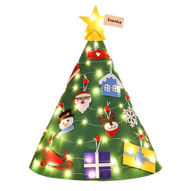 【Conalife】立體燈串羊毛氈聖誕樹 2組(加贈聖誕髮飾X2 -款式隨機)