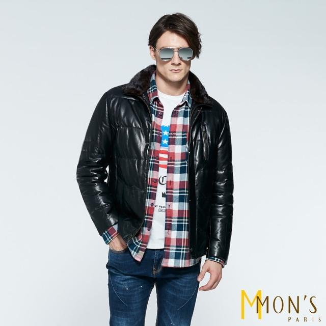 【MON'S】貂毛領壓紋皮衣羽絨外套(100%羊皮)