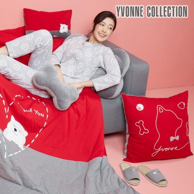 【Yvonne Collection】紳士剪影狗方形抱枕_60x60cm(紅)