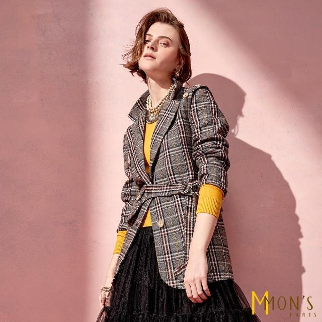 【MON'S】百變穿搭毛料格紋西裝外套