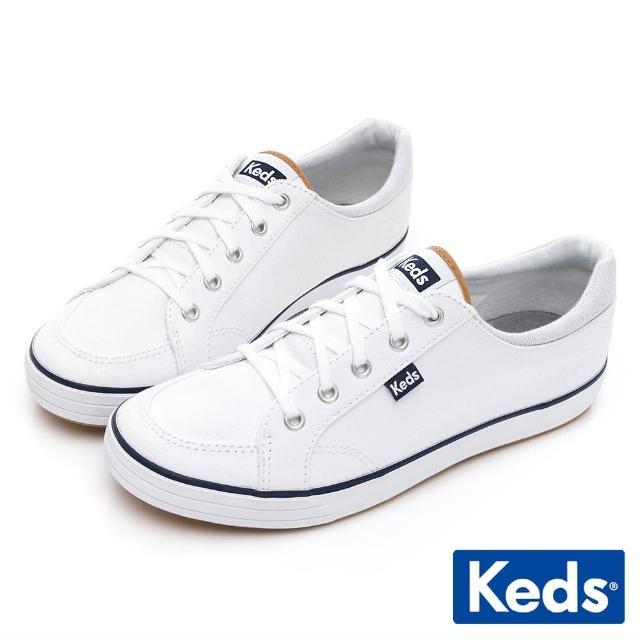 【Keds】CENTER 舒適中性帆布百搭記憶休閒鞋(白)