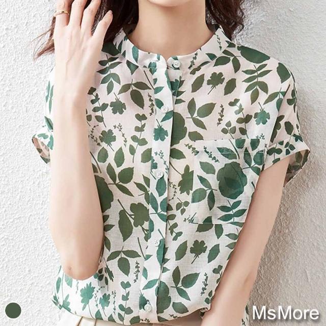 【MsMore】夏之戀薄荷印花清新雪紡衫上衣#109319現貨+預購(綠色)