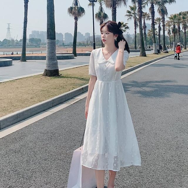 【Dorri】蕾絲娃娃翻領甜美白色洋裝S-XL