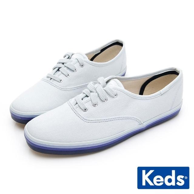 【Keds】CHAMPION 繽紛彩虹綁帶帆布鞋(藍)
