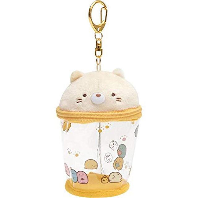 【San-X】角落生物 鑰匙扣半透明收納包 造型吊飾 杯子 貓咪(角落小夥伴)