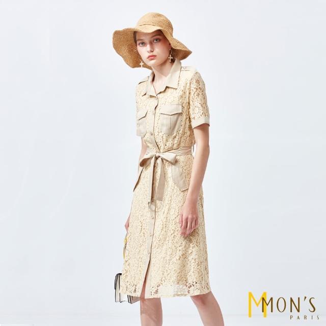 【MON'S】蕾絲拼接開襟洋裝
