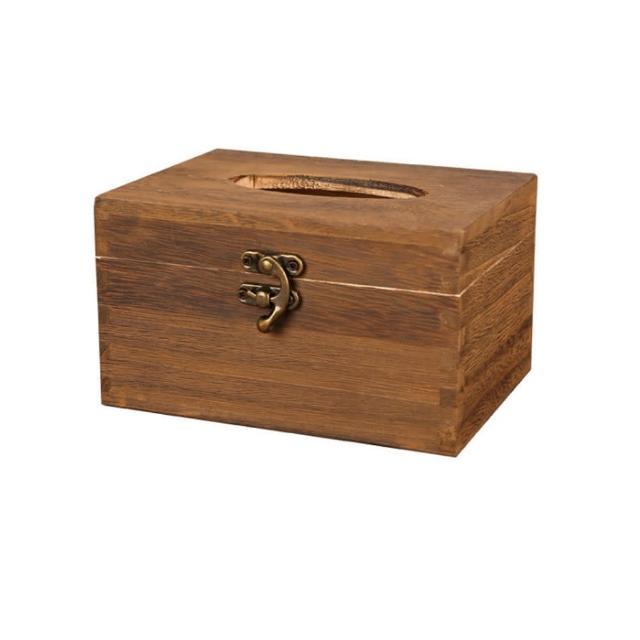 【PUSH!】PUSH!居家生活用品 復古自然風 紙巾盒 面紙盒 衛生紙抽取收納盒(紙巾盒短款I06-2)