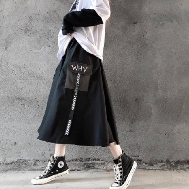 【CLORI】潮流個性文字印側口袋A字半身裙M-2XL(共二色)