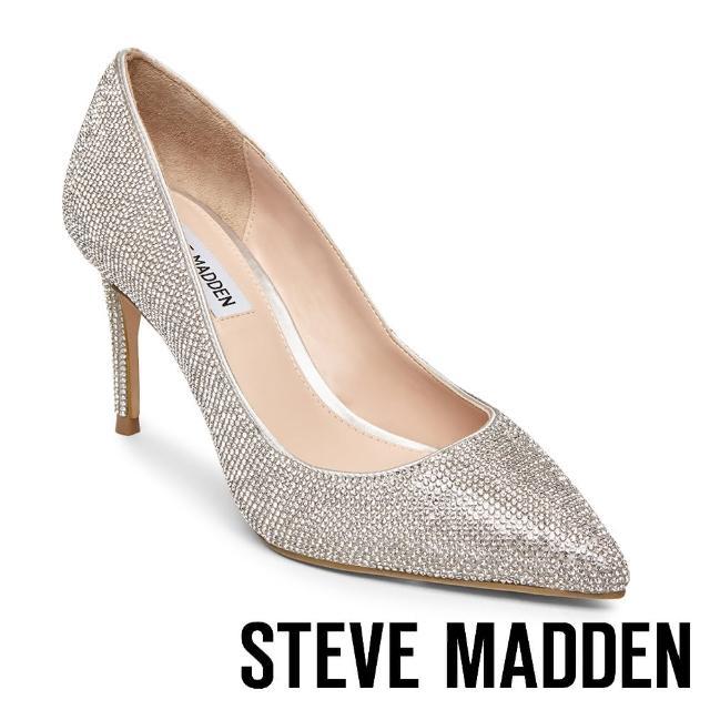 【STEVE MADDEN】LILLIE 奢華素面尖頭高跟鞋(銀色)