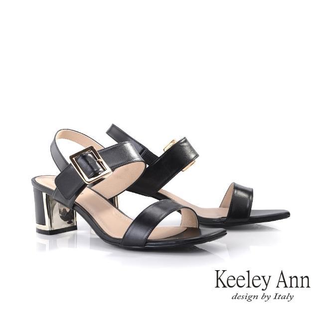 【Keeley Ann】夏季定番 MIT羊皮寬帶粗跟涼鞋(黑色132063110)