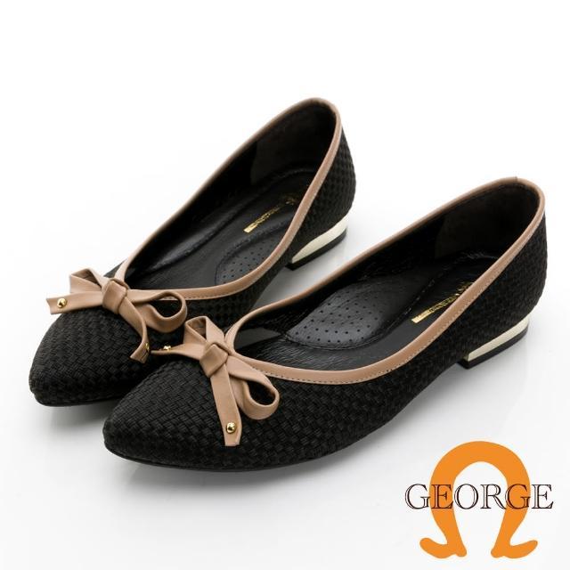 【GEORGE 喬治皮鞋】優雅小香風緞布真皮蝴蝶結配色低跟淑女鞋 -黑 031010CU