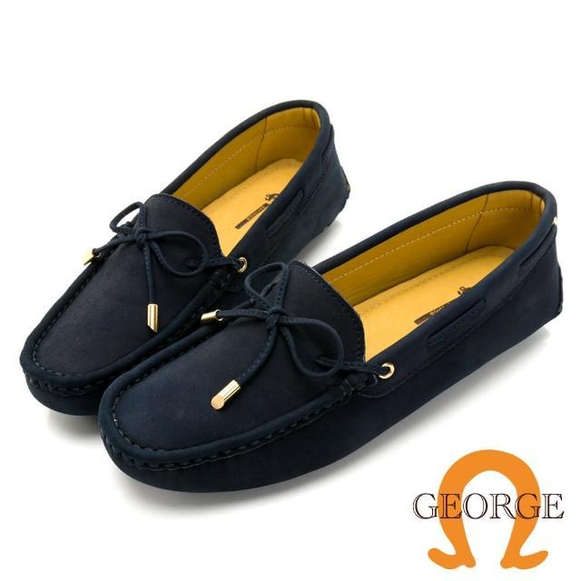 【GEORGE 喬治皮鞋】麂皮金屬蝴蝶結樂福鞋 女-深藍 031005BJ