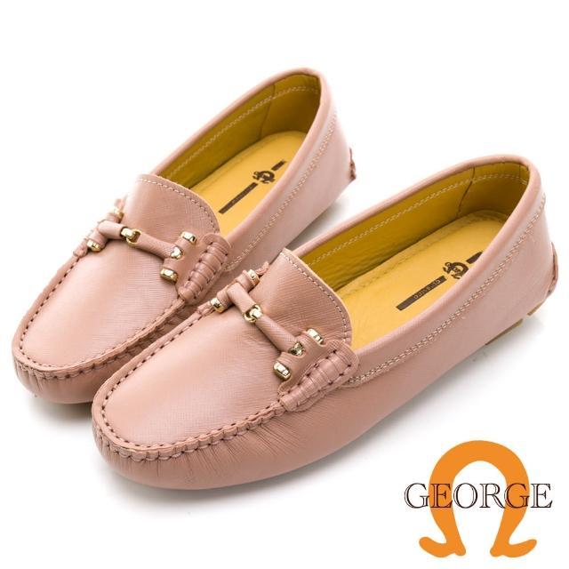 【GEORGE 喬治皮鞋】真皮十字壓紋皮革條釦樂福鞋 -粉 031007BJ