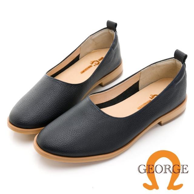 【GEORGE 喬治皮鞋】真皮素面細緻荔枝紋便鞋 -藍 031008HH