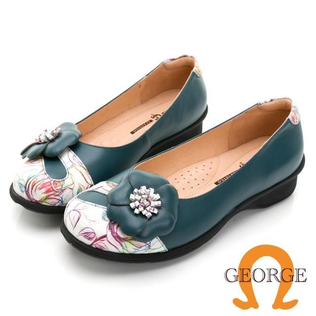 【GEORGE 喬治皮鞋】真皮彩繪拼接立體花朵休閒氣墊鞋 -藍綠色 031020EU