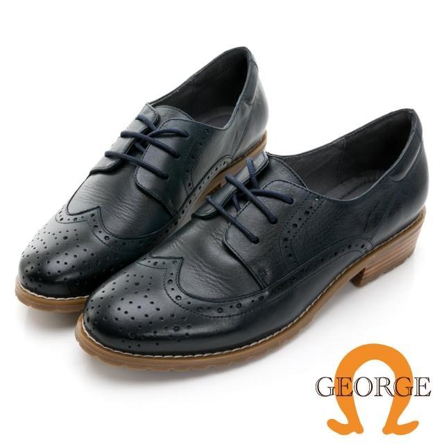 【GEORGE 喬治皮鞋】學院風真皮翼紋雕花木紋中跟鞋 -藍 034007JM