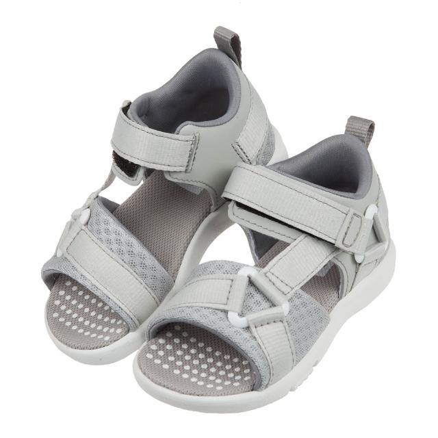 【布布童鞋】Moonstar日本速乾活力灰色兒童機能涼鞋(I1C817J)
