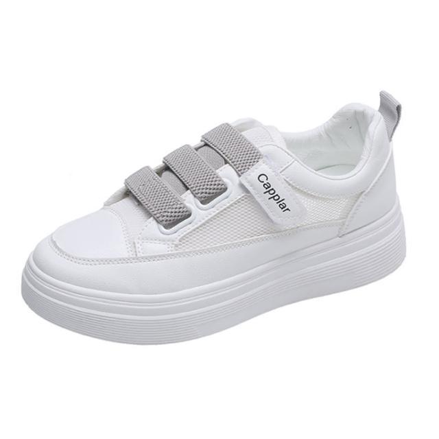 【Taroko】青春純色鏤空透氣魔鬼氈厚底休閒鞋(2色可選)