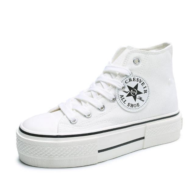 【Taroko】學院青春帆布長筒厚底休閒鞋(2色可選)