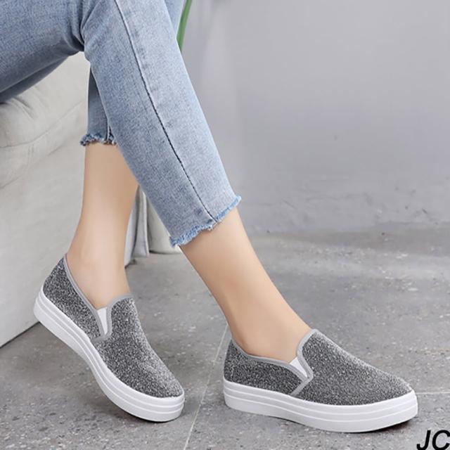 【JC Collection】低調奢華舒適厚底透氣帆布鞋面百搭帆布鞋休閒鞋(灰色)