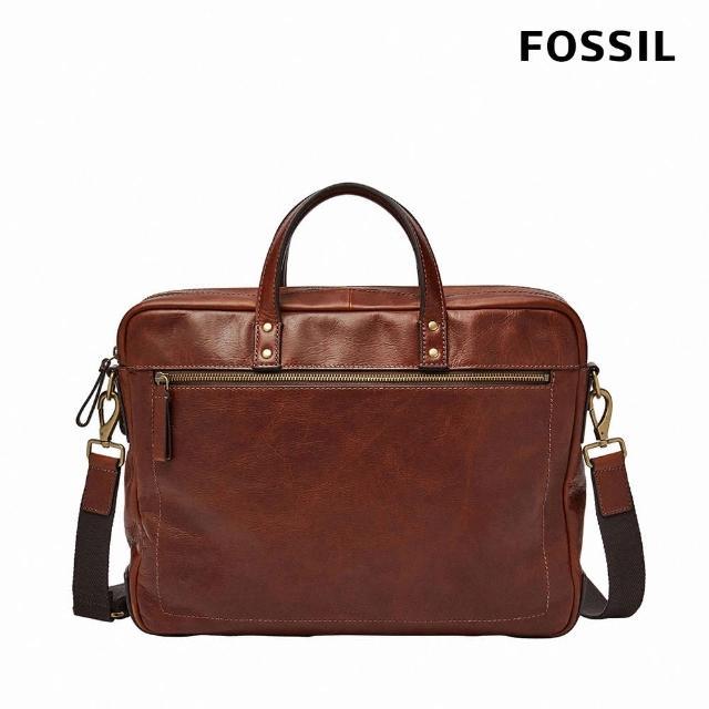【FOSSIL】Haskell 真皮公事包 大款-干邑色 MBG9342222(可入15吋筆電)