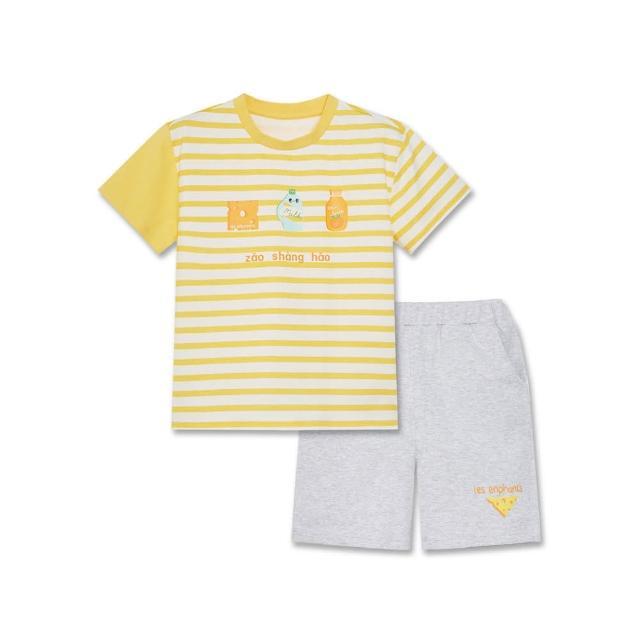 【麗嬰房】EASY輕鬆系列 小小美食家短袖套裝- 黃色(短袖上衣+短褲 / 76cm~130cm)