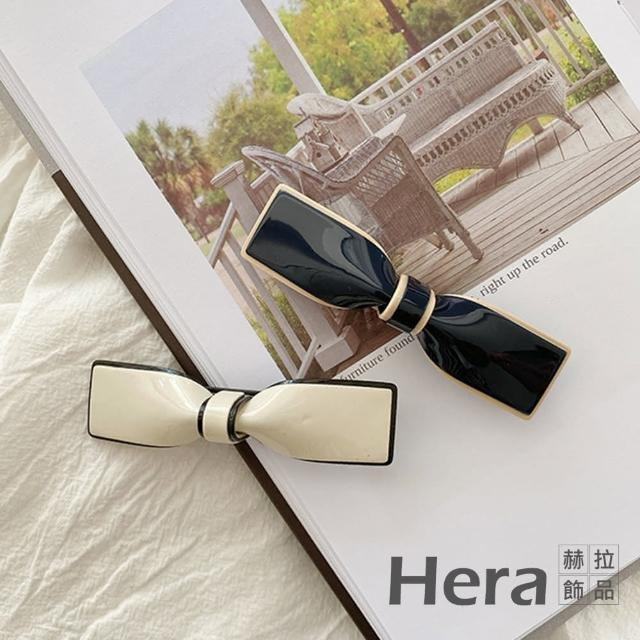 【HERA 赫拉】日本TP同款復古蝴蝶結山茶花醋酸彈簧夾髮飾-大款2入組#H100414B(復古 蝴蝶結 彈簧夾)