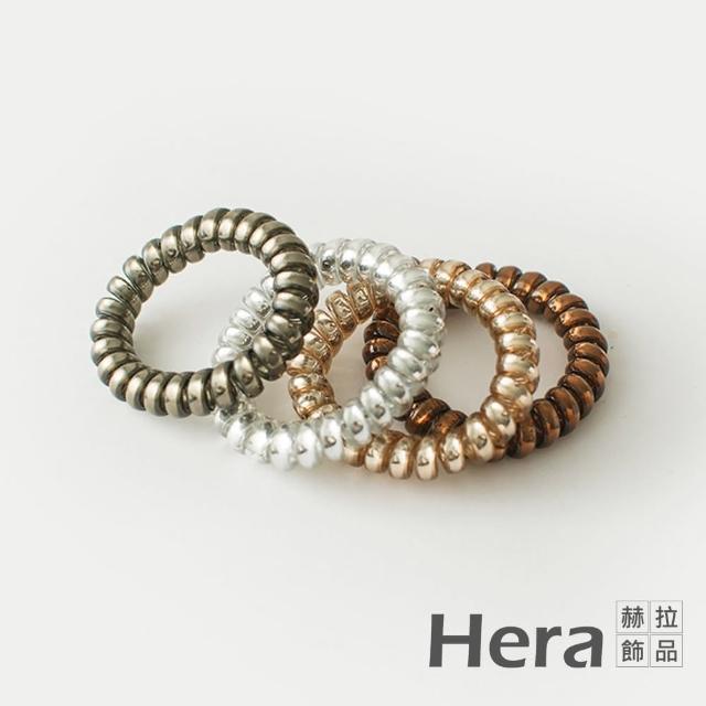 【HERA 赫拉】韓國半透明金屬髮飾-粗款隨機色4入組#H100414G(韓款 半透明 髮圈)