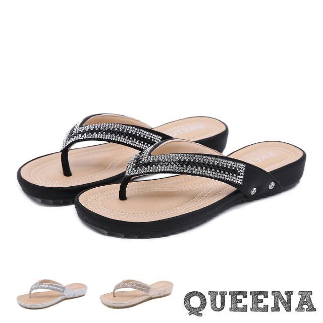 【QUEENA】夾腳拖鞋 人字拖鞋/美鑽亮片舒適軟底造型人字拖鞋(3色任選)