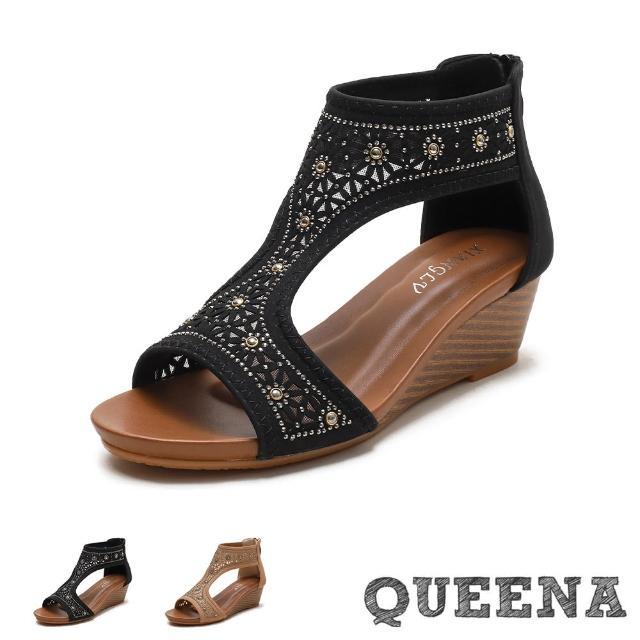 【QUEENA】楔型涼鞋 坡跟涼鞋/復古縷空刻花燙鑽典雅造型坡跟羅馬涼鞋(2色任選)