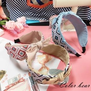 【卡樂熊】幾何清新甜美蝶結造型寬版髮箍(三色)