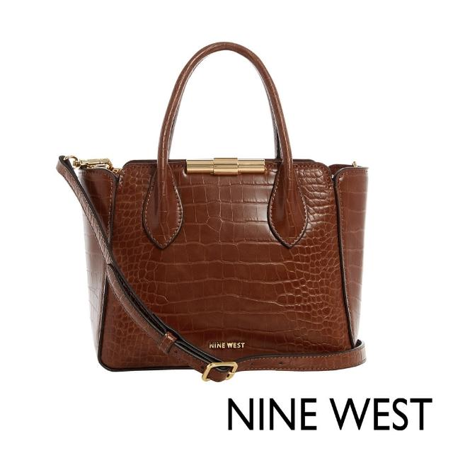 【NINE WEST】HOLLIS時尚鱷魚紋中型手提/斜背包-咖啡色(116605)