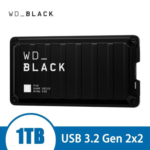 【WD 威騰】BLACK黑標 P50 Game Drive SSD 1TB 電競外接式硬碟(WDBA3S0010BBK-WESN)