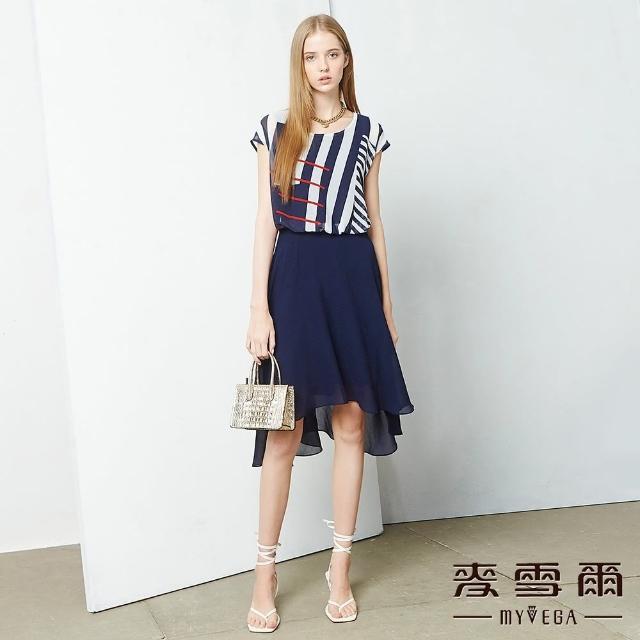 【MYVEGA 麥雪爾】線條相間雪紡假兩件連身洋裝-藍