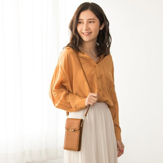 【CHENSON】真皮 5卡iPhone手機包斜背包 小包 母親節 咖啡(W20521-B)