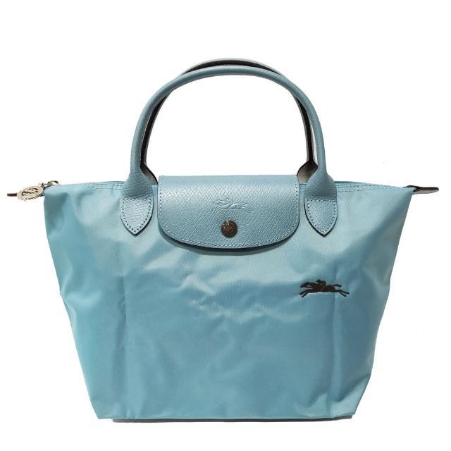 【LONGCHAMP】LE PLIAGE CLUB 短把摺疊手提刺繡水餃包 S號(水藍色)