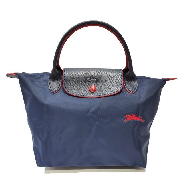 【LONGCHAMP】LE PLIAGE CLUB 短把摺疊手提刺繡水餃包 S號(海軍藍色)