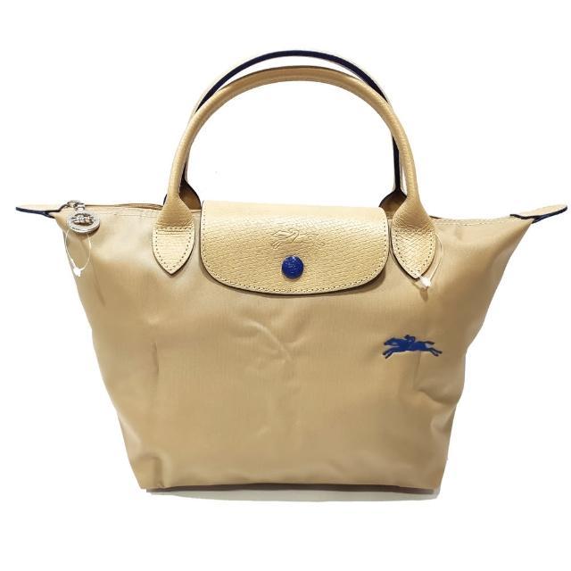 【LONGCHAMP】LE PLIAGE CLUB 短把摺疊手提刺繡水餃包 S號(杏色)