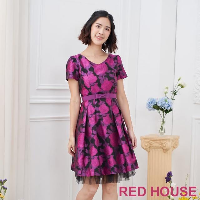【RED HOUSE 蕾赫斯】花朵黑紗洋裝(紫色)