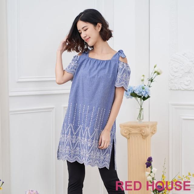 【RED HOUSE 蕾赫斯】蕾絲露肩牛仔上衣(藍色)